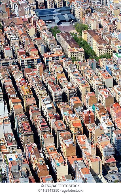Aerial view of the Barceloneta, Barcelona, Spain