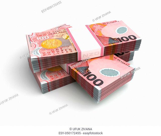 Stack of New Zealand Dollar (Isolated on white background)