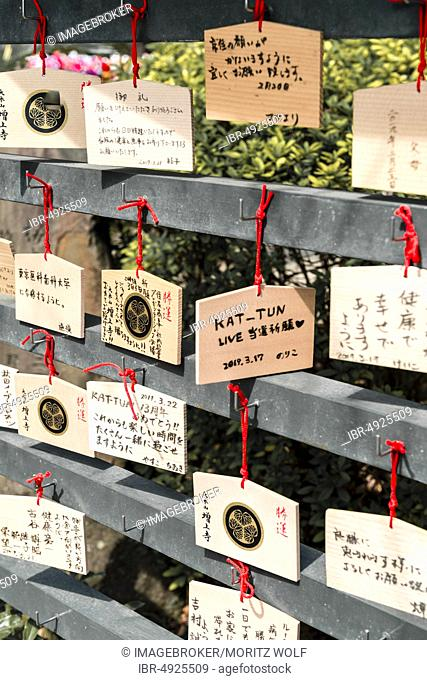 Wishes to deities on small wooden boards, Ema, Zojoji Temple, Buddhist temple complex, Tokyo, Japan, Asia