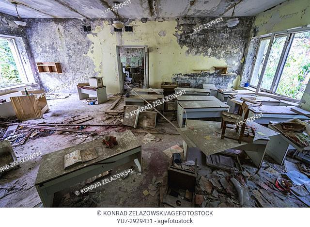 "Interior of """"Cheburashka"""" kindergarten No 10 in Pripyat ghost city, Chernobyl Nuclear Power Plant Zone of Alienation in Ukraine"