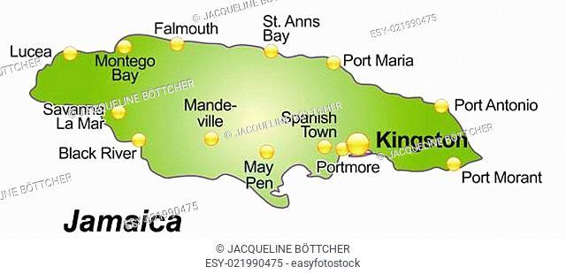 Karte von Jamaika als Übersichtskarte in Grün