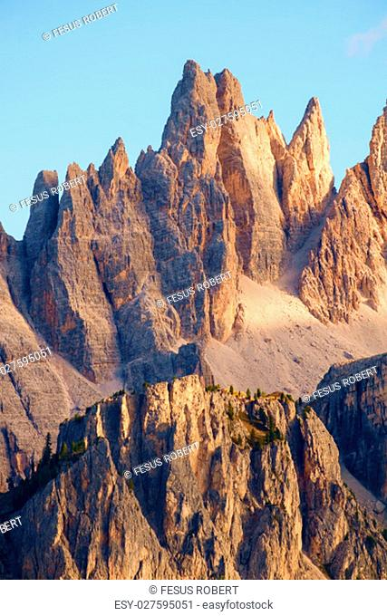 Rocky mountain peaks of Croda da Lago in the Dolomites, Italian Alps