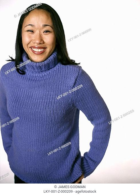 Cropped portrait of young Asian woman