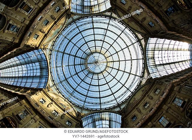 'Octagon' view of the facades and streets in the center of 'Vittorio Emanuele' Gallery  Milan, Lombardy, Italy, Europe