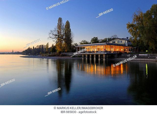 Beach café on the peninsula Mettnau near Radolfzell, county Constance, Baden-Wuerttemberg, Germany, Europe