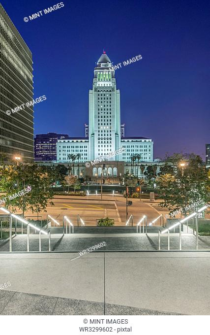 Los Angeles Public Library overlooking cityscape, California, United States