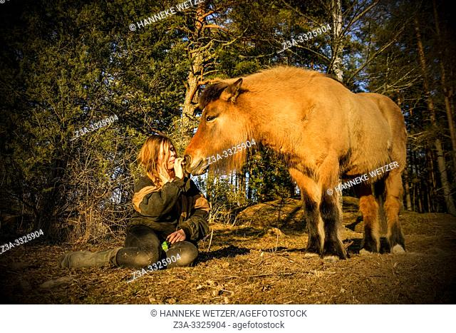 Girl with her horse in Swedish nature