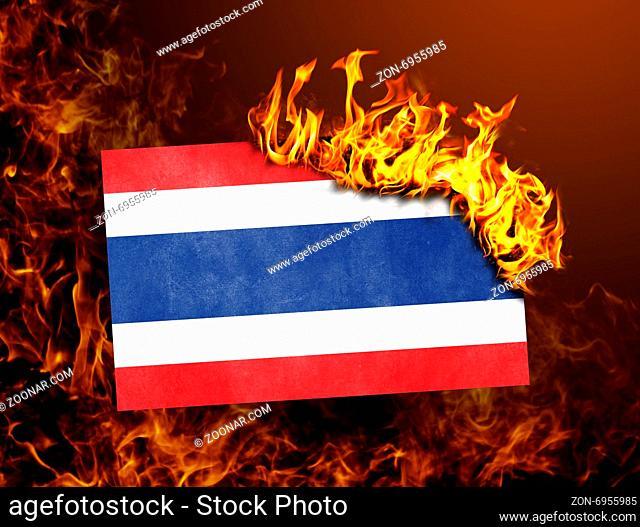 Flag burning - concept of war or crisis - Thailand