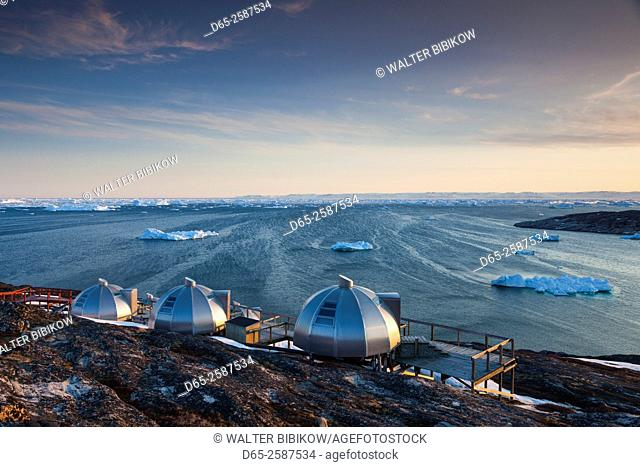 Greenland, Disko Bay, Ilulissat, waterfront igloo houses