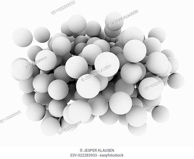 Group of 3d golf balls