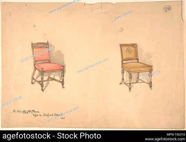 Designs for Two Chairs. Artist: Charles Hindley and Sons (British, London 1841-1917 London); Date: 1884-92; Medium: Watercolor over graphite; Dimensions: sheet:...