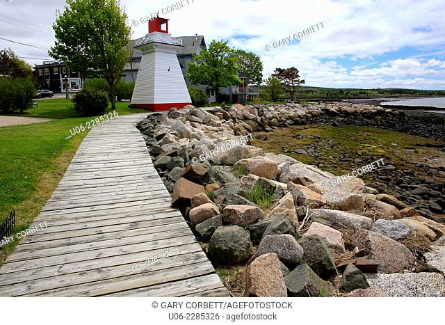 The boardwalk and lighthouse at Annapolis Royal, Nova Scotia, Canada
