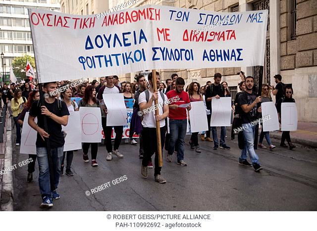 Greek students protest against austerity measures in education sector. Demanding free housing, educational materials and use of transportation for students