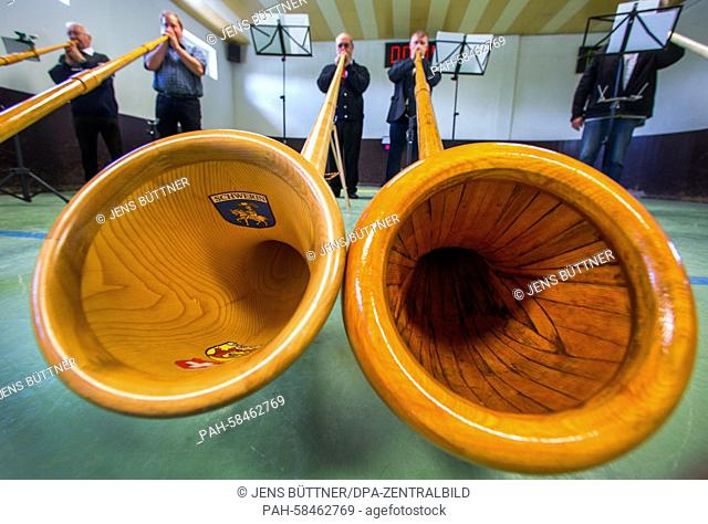 Members of the Mecklenburg alpenhorn orchestra rehearse in Witzin (Mecklenburg-Western Pomerania), Germany, 06 May 2015. The seven-man music ensemble play...