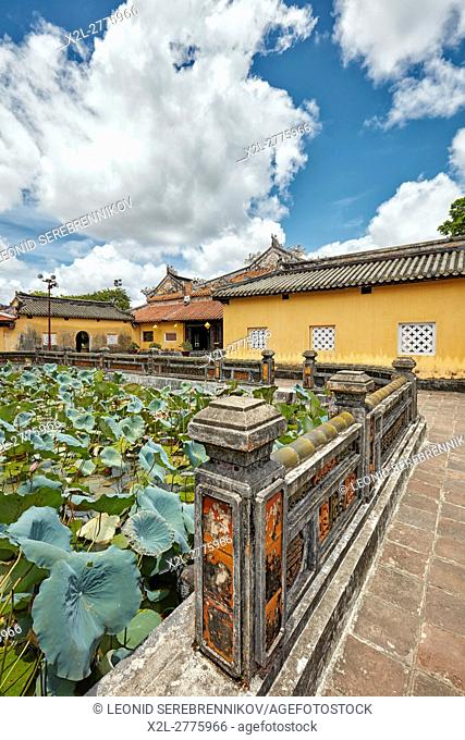 Lotus Lake at Truong Du Pavilion. Dien Tho Residence, Imperial City, Hue, Vietnam