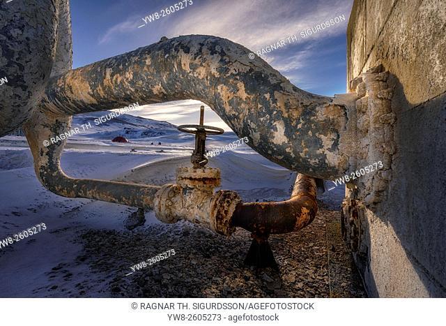Decaying metal pipes at Bjarnarflag Geothermal Plant, Iceland