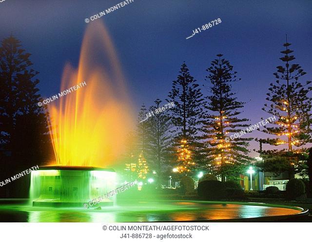 Tom Parker fountain at night Marine Parade Napier New Zealand