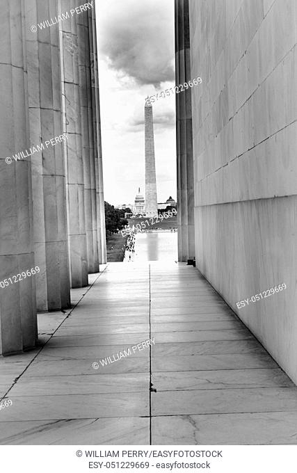 Capitol Dome Washington Monument From Lincoln Memorial Washington DC. Black and White