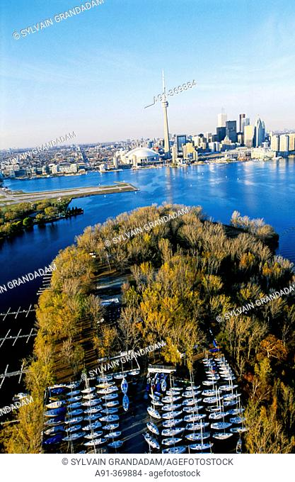 Aerial photography from an helicopter. City of Toronto. Ontario. Canada