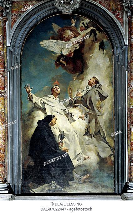 Visions of the domenican saints Lodovico Bertrando, Vincenzo Ferreri e Giacinto, 1738, by Giovanni Battista Piazzetta (1682-1754), oil on canvas, 345cm x 72cm