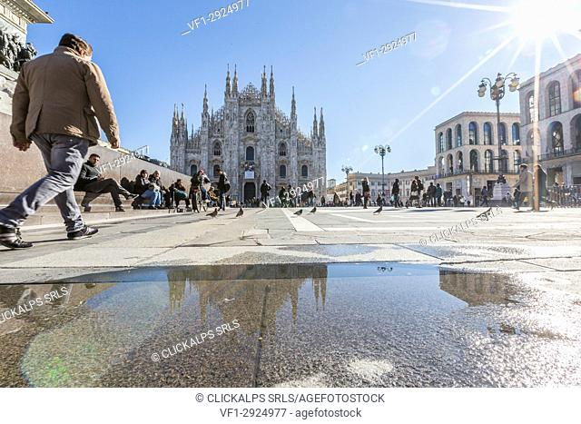 View of the square and the gothic Duomo the icon of Milan Lombardy Italy Europe