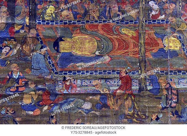 Nirvana, colors on silk, Kamakura period, 14 th century, Tokyo National Museum, Tokyo, Honshu, Japan, Asia