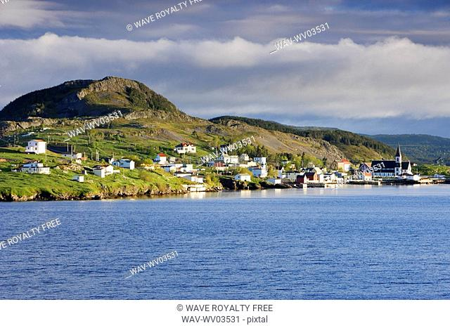 View of village at sunrise, Trinity, Newfoundland, Canada