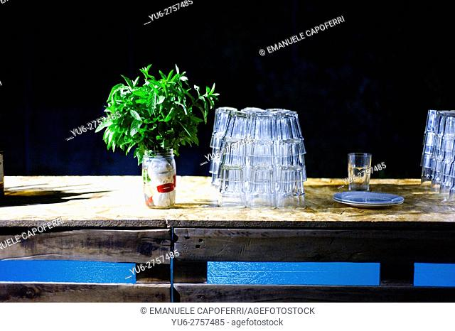 Bench, alcoholic drinks for party