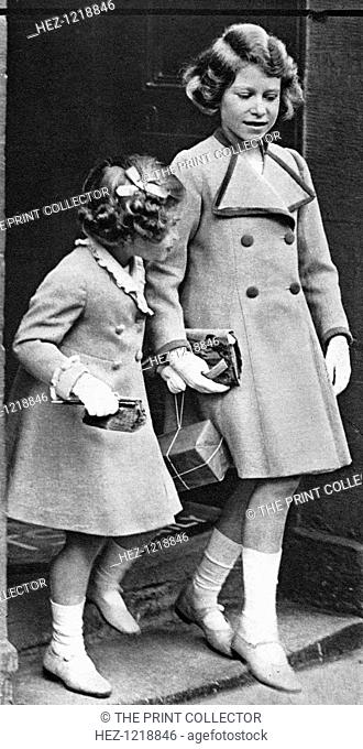 Princess Elizabeth and her sister, c1936. The future Queen Elizabeth II (right), with Princess Margaret Rose. Illustration from George V and Edward VIII