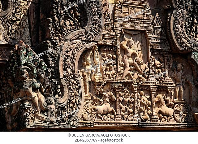 Sculptures on the walls of Banteay Srei temple. Cambodia, Siem Reap, Angkor