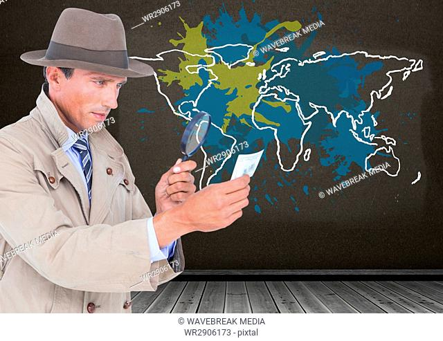 Detective looking through magnifying class with Colorful Map with paint splattered wall background