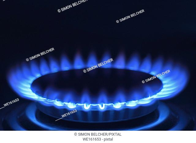 Gas Hob on a Cooker, Close Up