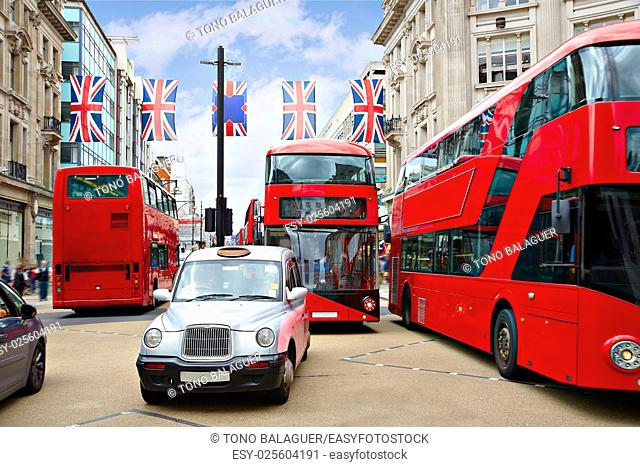 London bus and taxi Oxford Street W1 Westminster in UK England