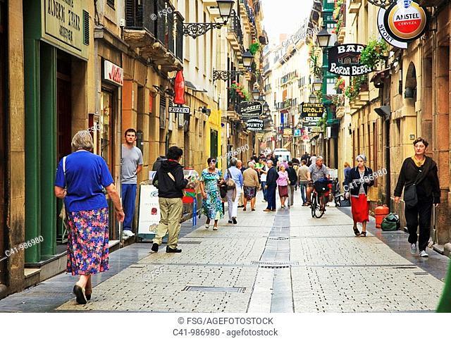 Street in old town, San Sebastian, Guipuzcoa, Basque Country, Spain