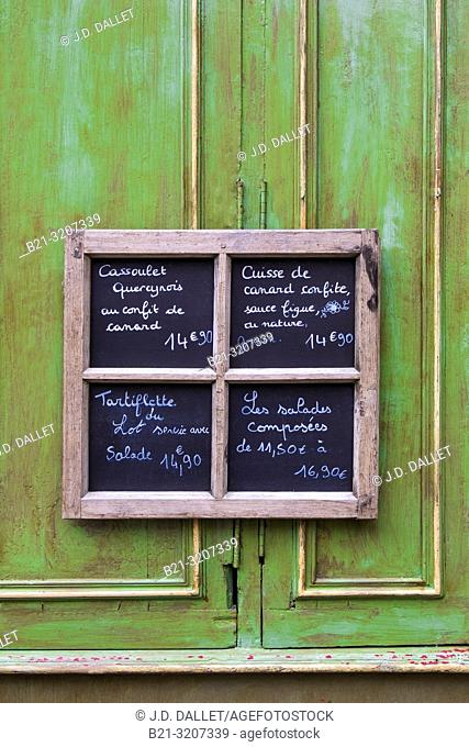 France, Occitanie, Lot, Menu sign at the old part of the medieval village of Martel