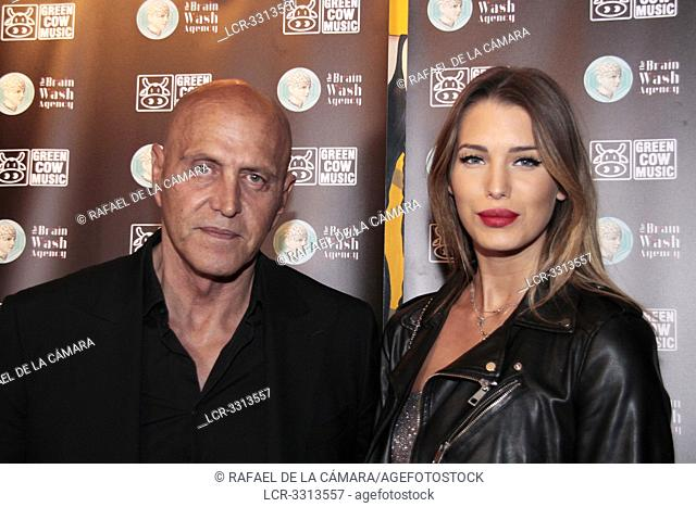 Kiko Matamoros TV collaborator, model, artistic representative and actor with Marta Lopez model in photocall concert of Lin Cortes Joy Eslava Madrid