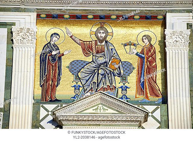 The Romanesque marble facade & mosaic begun in about 1090 of San Miniato al Monte (St. Minias on the Mountain) basilica , Florence, Italy