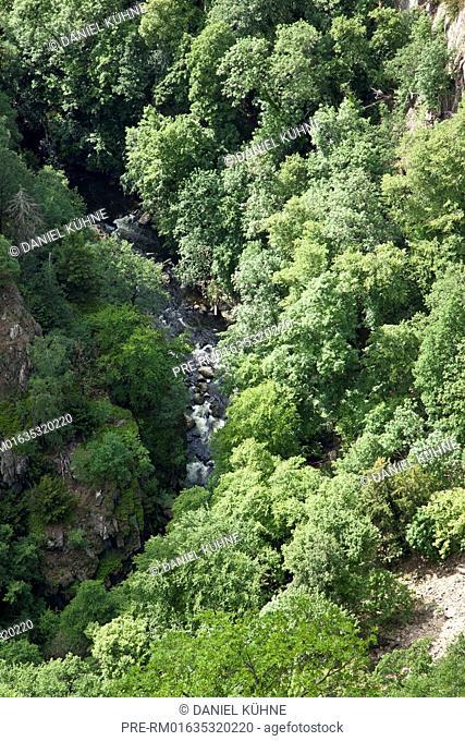 View from Rosstrappe to Bode valley (Bodetal), Harz District, Harz, Saxony-Anhalt, Germany / Blick von der Roßtrappe in das Bodetal, Landkreis Harz, Harz