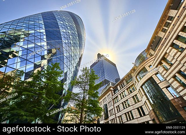The Gherkin office building, City of London, London, United Kingdom