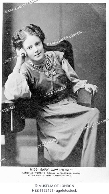 Mary Eleanor Gawthorpe, c1908. Organizer and member of the National Committee of the WSPU from 1907 to 1911. She is photographed wearing the Holloway Badge for...