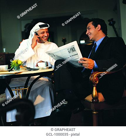 Arab businesspeople at lunch break