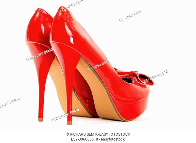 fashionable platform red pumps