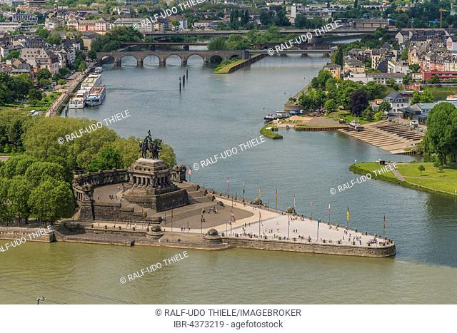 Deutsches Eck, confluence of Rhine and Moselle rivers, view from Ehrenbreitstein Fortress, Koblenz, Rheinland Pfalz, Germany