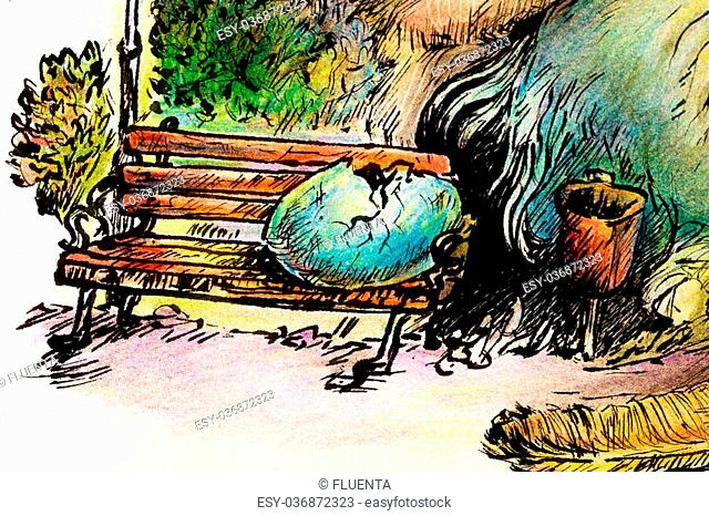 Surrealistic illustration of a hatching shaman trying to please a giant park bird, detail of an egg, bench and trashcan, detailed intricate colorful drawing
