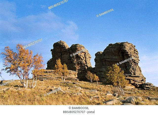 The Asihatu Hoodoo of World geology park, Keshiketengqi, Chifeng City Inner Mongolia Autonomous Region of People's Republic of China