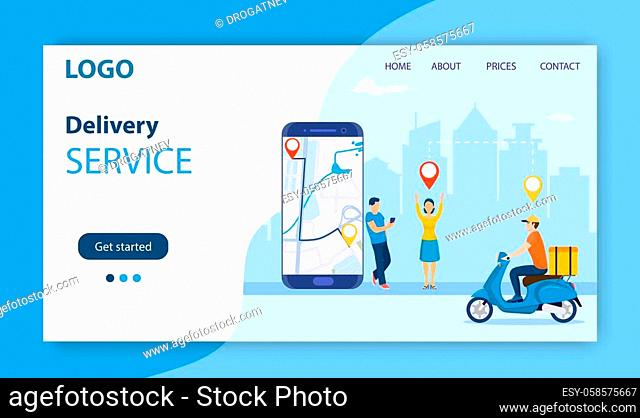 online delivery service concept. men order food via smartphone. delivery home and office. scooter courier. Landing page, template, mobile app, poster, banner