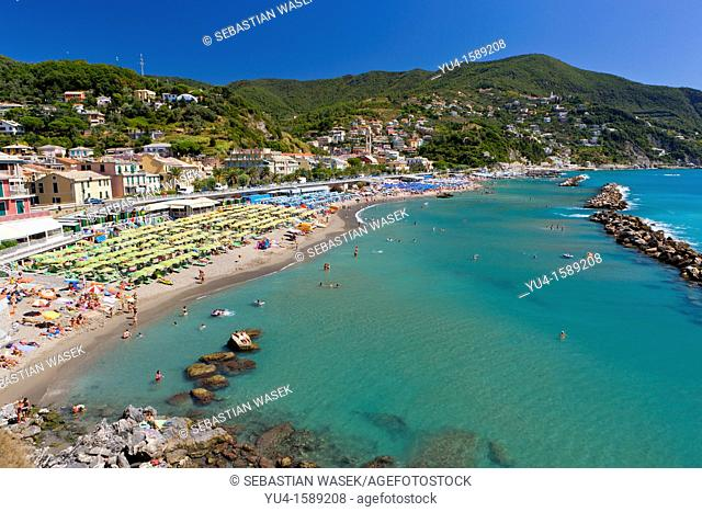Beach at Moneglia, Riviera di Levante, Province of Genoa, Liguria, Italy