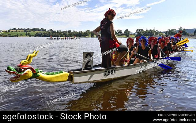 A dragon boat is seen during the 14th Festival of Dragon Boats Vysocina, on August 22, 2020, in Zdar nad Sazavou, Czech Republic