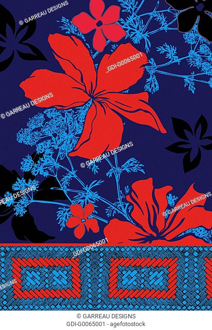 Red tropical flowers on blue background