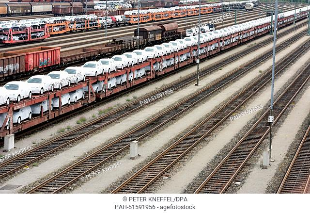 Freight trains of the Deutsche Bahn railway company stand on a shunt yard in Munich, Germany, 01 September 2014. Following a strike of Lufthansa pilots